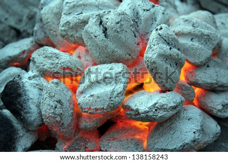 Hot coals over a bar-be-que