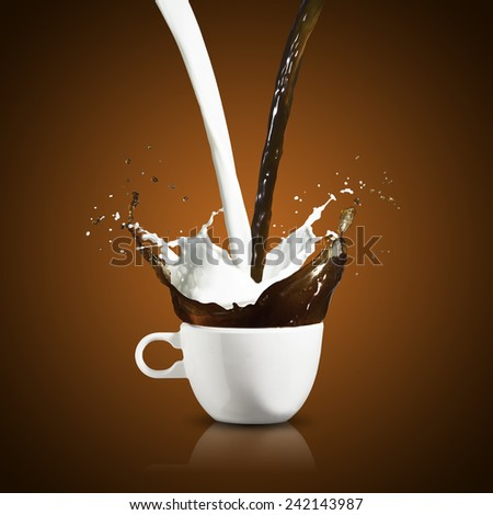 Hot Coffee and Milk Splash from Cup