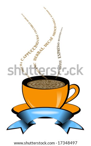 Hot coffee cup illustration made with text
