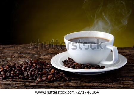 Hot coffee for breakfast - stock photo