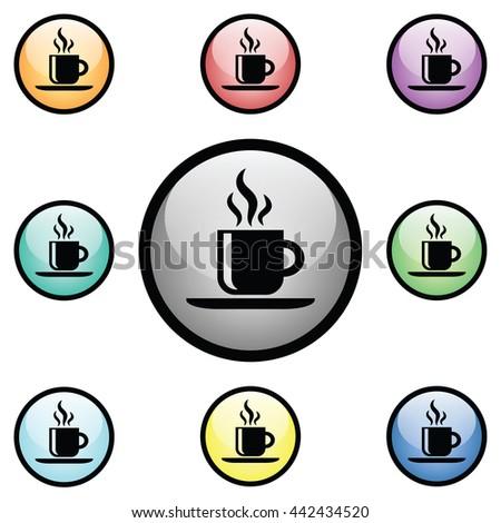 Hot Coffee Icon Glass Button Icon Set.  Raster Version - stock photo
