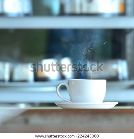 Hot coffee in coffee shop