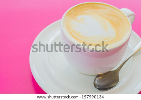 Hot coffee in white cup