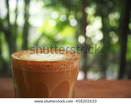 hot coffee on table in coffee shop cafe - stock photo