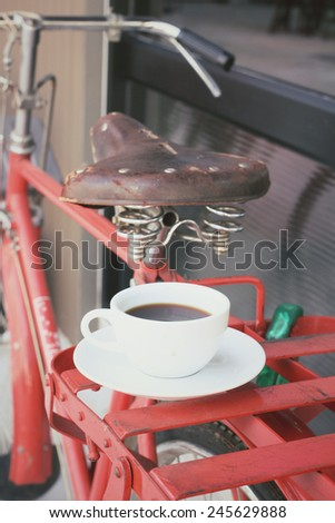 Hot coffee with bike