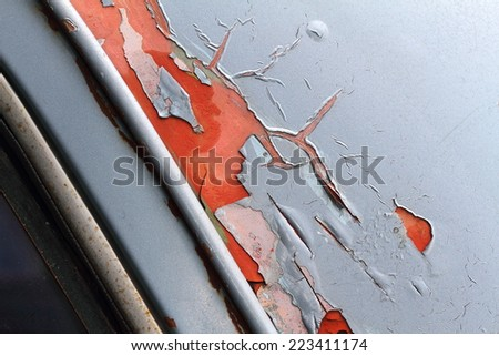 Hot color of rusting old cars. - stock photo