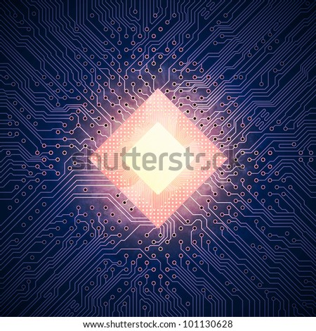 Hot computer chip - stock photo