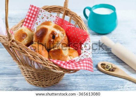 Hot Cross Buns in Basket. Easter Card.  - stock photo
