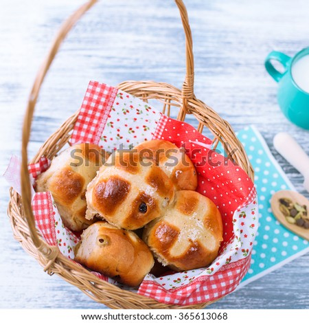 Hot Cross Buns in Basket. Easter Greeting Card. Photo  in Square Format.. - stock photo