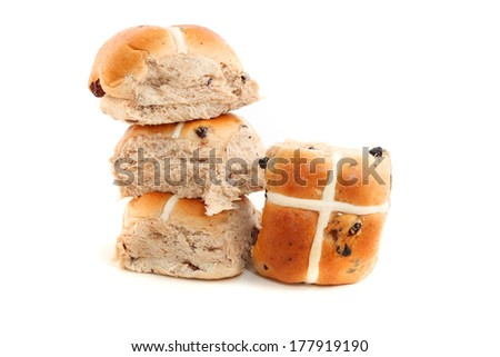 Hot Cross buns isolated on white background - stock photo