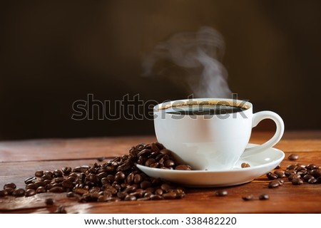 hot cup of coffee and smoke