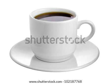 Hot Cup of Coffee in a White Ceramic Mug on a Saucer isolated on white background - stock photo