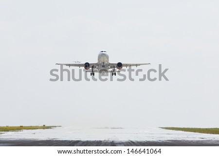 Hot day at the airport - selective focus - stock photo