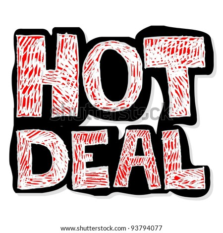 hot deal, crazy doodle - stock photo
