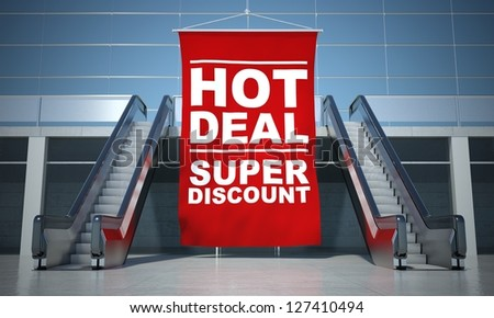 Hot deal offer advertising flag and modern moving escalator stairs - stock photo