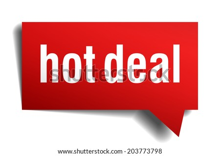 hot deal red 3d realistic paper speech bubble isolated on white - stock photo