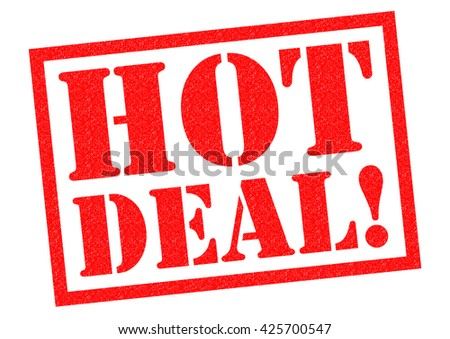 HOT DEAL! red Rubber Stamp over a white background.