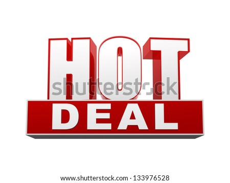 hot deal text - 3d red and white letters and block, business concept - stock photo