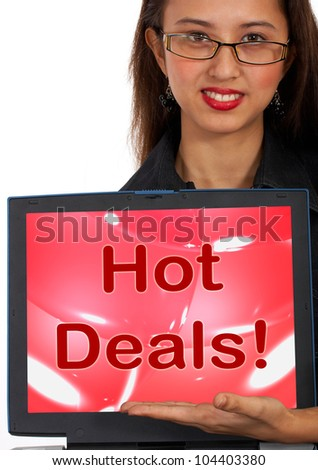 Hot Deals Computer Message Representing Bargains Or Discounts Online - stock photo