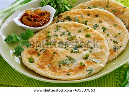 Hot & Delicious Spring Onion Paratha with Pickle