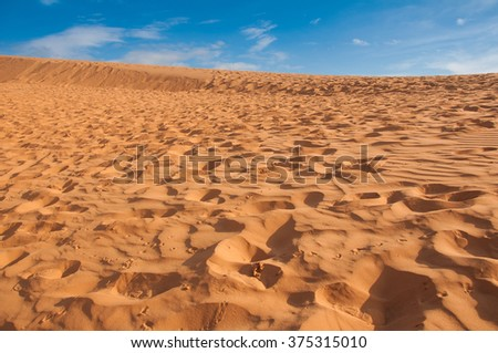 Hot desert with blue sky on sunny day