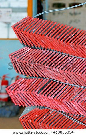 Hot-dip Galvanized Steel member for Steel tower in Transmission line bunch on the rack in warehouse before shipment