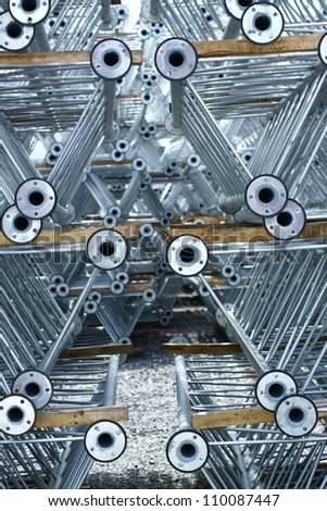 Hot-dip galvanized steel pipe on the rack