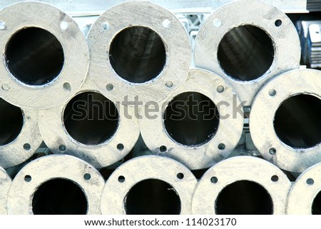 Hot-dip Galvanized Steel pipes. - stock photo