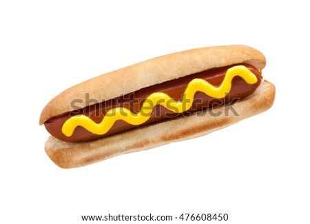 Hot Dog classic with mustard isolated on white. American Fast food.