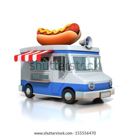 hot dog fast food car - stock photo
