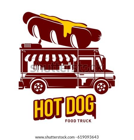 Hot Dog Food Truck Logo Illustration Vintage Style Badges And Labels Design Concept For