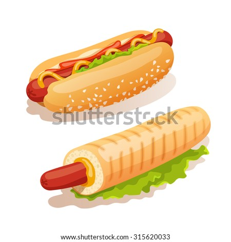 Hot dog french fast food decorative icons set isolated  illustration