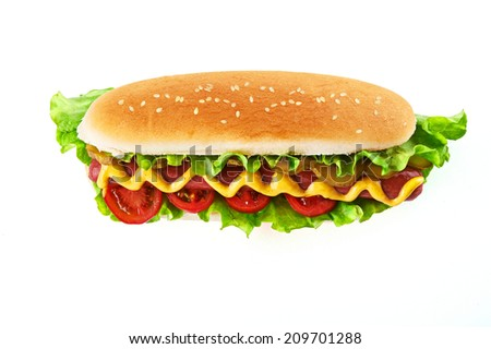Hot dog isolated top view - stock photo