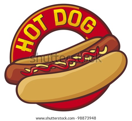 hot dog label - stock photo