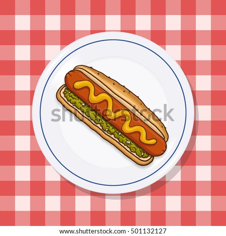 Hot dog on a plate; Picnic food on a red checkered tablecloth