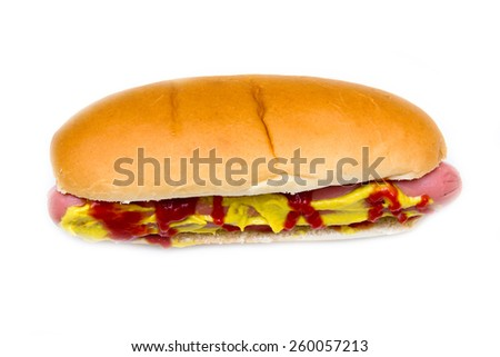 Hot dog on a white background seen close
