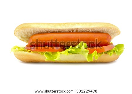 hot dog with fresh leaf lettuce two slices of tomato isolated on a white background
