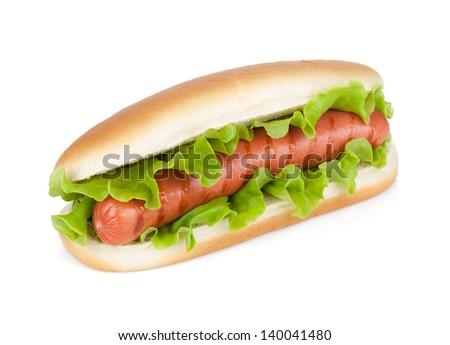Hot dog with fresh lettuce. Isolated on white background - stock photo