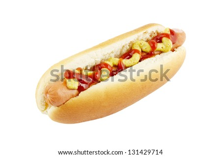 Hot dog with ketchup and mustard isolated on white - stock photo
