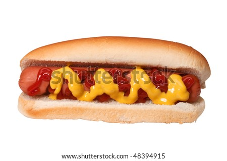 Hot dog with ketchup and mustard isolated on white background with clipping path. - stock photo