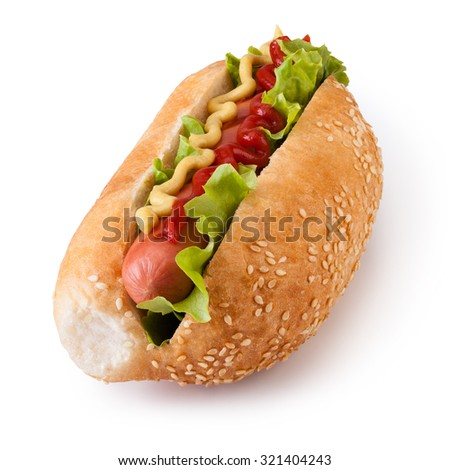 Hot dog with ketchup and mustard on white background