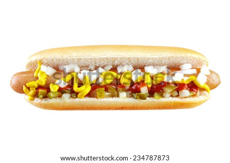 Hot dog with ketchup , mustard , cucumber and chopped onion , isolated on white , front view
