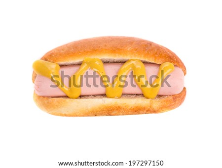 Hot dog with mustard closeup isolated on white background