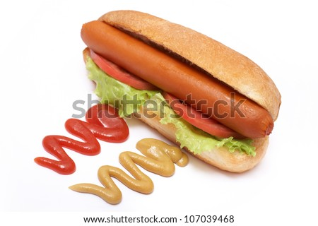 hot dog with sausage, mustard, ketchup, tomato, salad and bread over white background