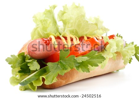Hot dog with vegetables on a white background
