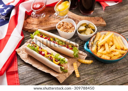 Hot dogs and french fries - stock photo