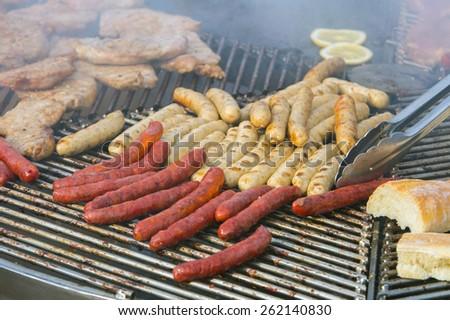 Hot dogs on lattice - stock photo