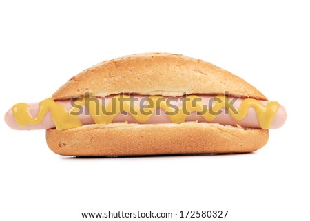 Hot dogs or Wieners with mustard isolated on white background