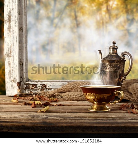 hot drink and retro cup  - stock photo