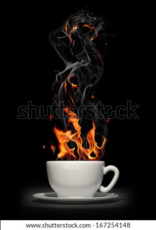 Hot drink. Coffee cup with steam - stock photo